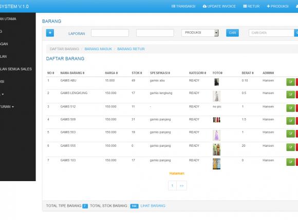 Aplikasi stok barang online