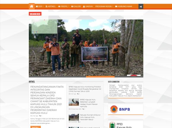 Website bpbd kabupaten kapuas hulu